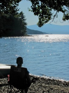 Beth enjoys the sounds of silence on Mooselookmegunic Lake