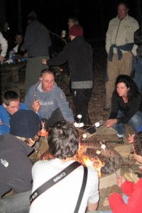 Students and families get together for S'mores during last week's Family Trek