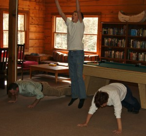 David, Rick and Denise in full burpee action.
