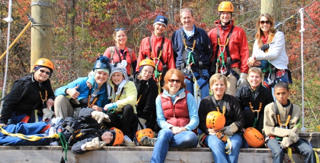 Members of our most recent Family Trek in November: Beth Venable is center among CCBS students, parents, siblings, guides and staff.